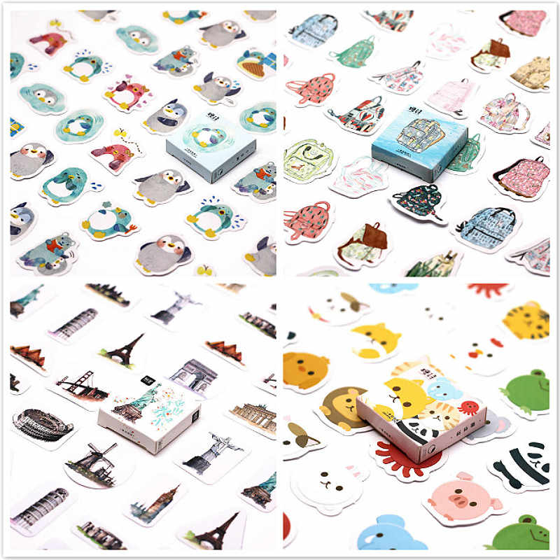 40Pcs Colourful Animal Stickers for Laptop Car Styling Phone Luggage Bike Motorcycle Mixed Cartoon Pvc Waterproof Sticker