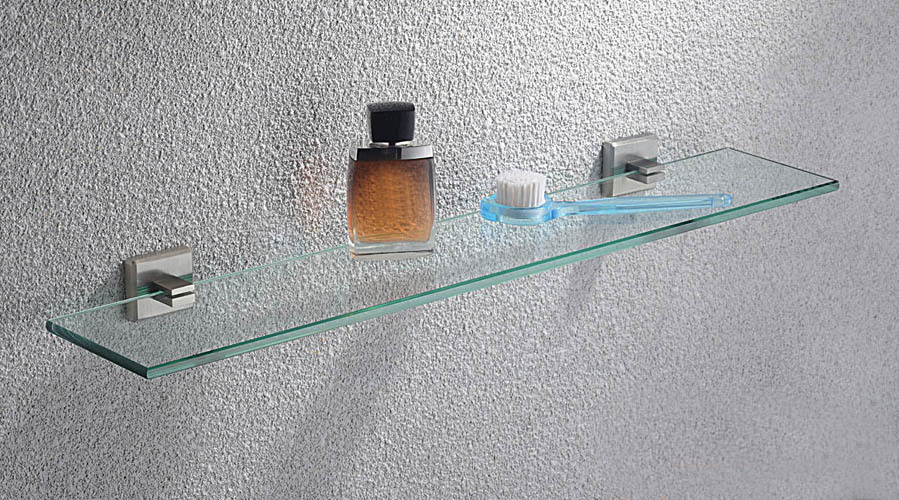Bathroom stainless steel accessories Products Single Glass Shelf,SUS304 Made Base+Glass Shelf-Cosmetics shelf  SUS005 stainless steel single deck glass shelf