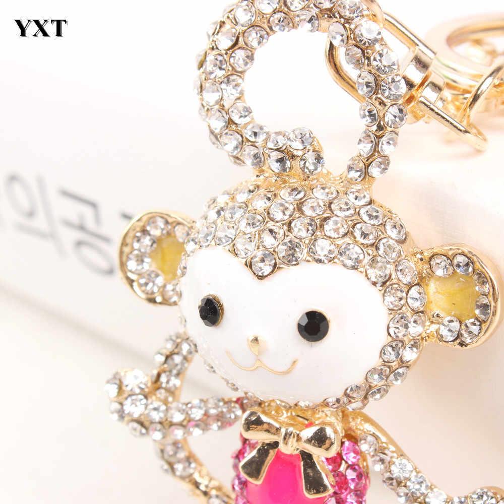 עלה קוף ארוך זנב חמוד קסם תליון קריסטל ארנק תיק Keyring מפתח שרשרת נשים תכשיטי יום הולדת אביזרי מתנה