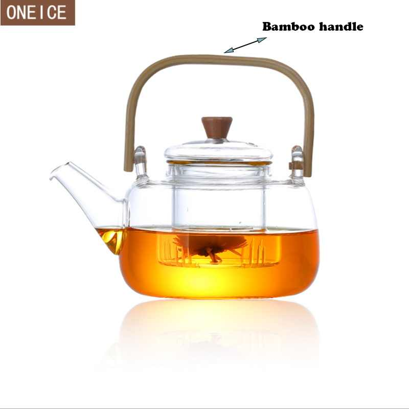 The New Large glass pot heat-resistant glass coffee pot bamboo wood handle built-in glass filter teapot 800 ml / 1000 ml