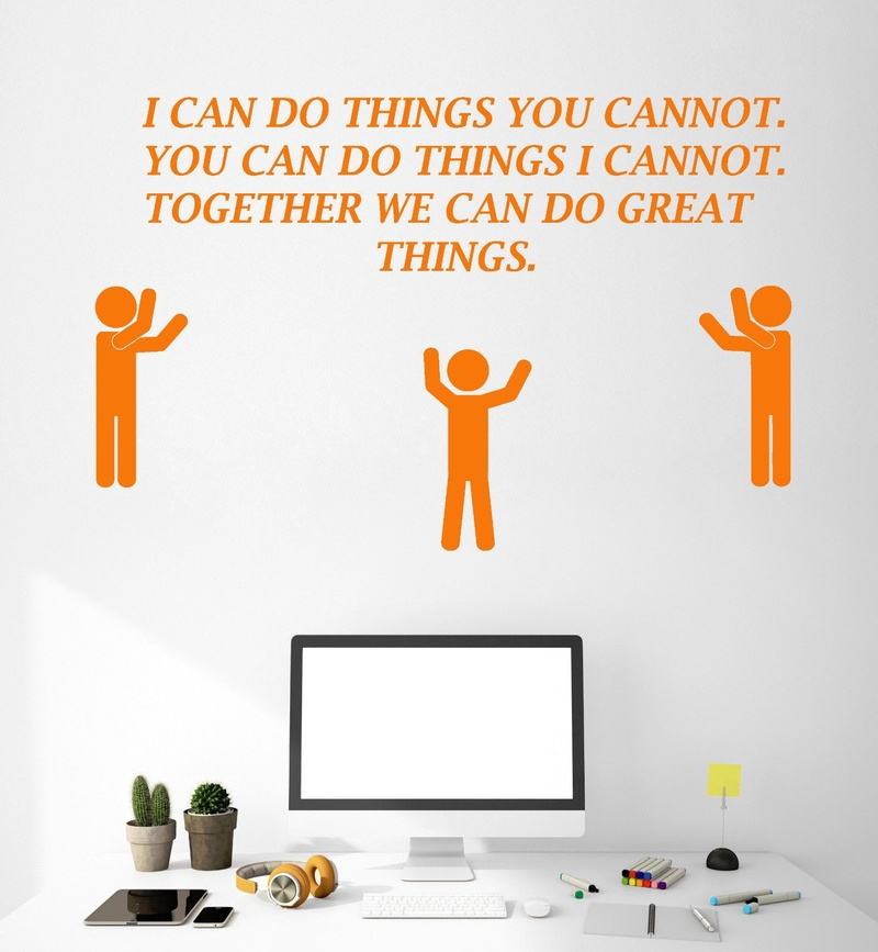 Motivation Quote Vinyl Wall Decal Office Team Teamwork Inspire Stickers Classroom Decoration ZS71