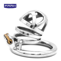 FRRK 304 Stainless Steel 3 Size Bird Cock Cage Lock Adult Game Metal Male Chastity Belt Device Penis Ring Sex Toys For Men