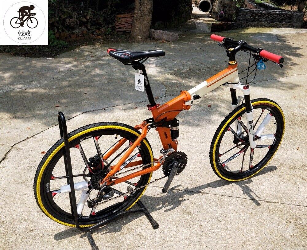 Horquilla Delantera De Aire Kalosse Bicicleta Plegable 24/27/30 Velocidad 26 Pulgadas Bicicleta De Montaña SuspensiÓn Completa Adultos Bicicleta