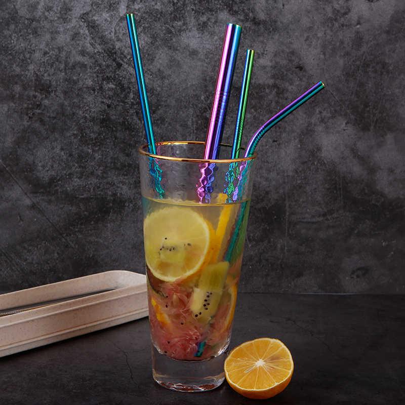 Экологически чистый набор соломинок для напитков из нержавеющей стали 3 шт. с коробкой для переноски + 1 шт. щетка для очистки, многоразовые аксессуары для соломы