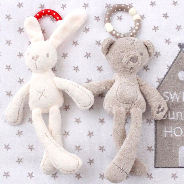 Schattige Baby Wieg Wandelwagen Speelgoed Konijn Bunny Bear Zachte Pluche baby Doll Mobiele Bed Kinderwagen kid Animal Opknoping Ring Ring kleur Willekeurige