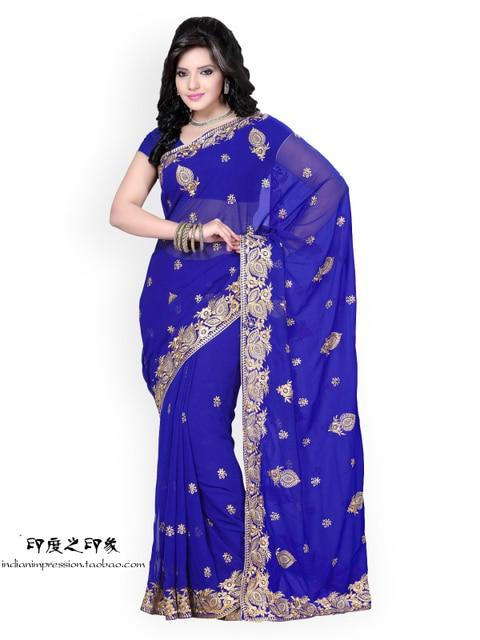 handmade embroidered indian sarees 6 coluor sari