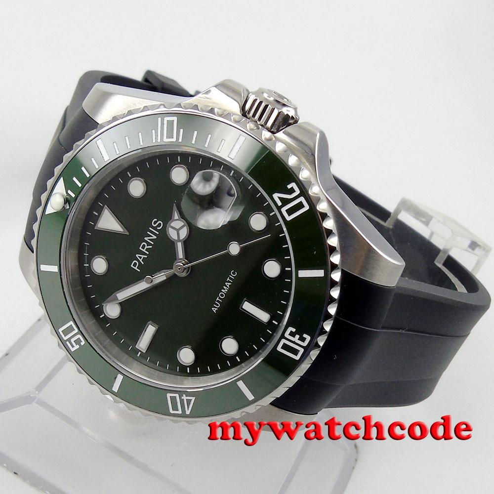 40mm Parnis green dial ceramic beel 21 jewel Miyota automatic mens watch P569 цена и фото