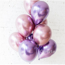 10pcs 12inch Glossy Metal Pearl Latex Balloons Thick Chrome Metallic Colors Inflatable Air Balls Globos Birthday Party Decor