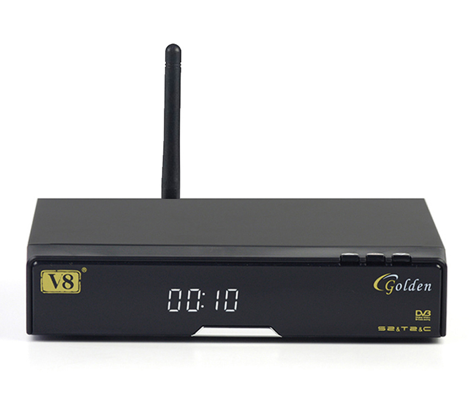V8 Golden & USB Wifi DVB-S2+T2 +C Satellite TV Combo Receiver Support PowerVu Biss Key Cccamd Newcamd USB Wifi wholesale freesat v7 hd dvb s2 receptor satellite decoder v8 usb wifi hd 1080p support biss key powervu satellite receiver