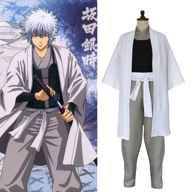 66b77e0f2 Anime Gintama Silver Soul Sakata Gintoki Kimono Cosplay Costume Full Set  Samurai Uniform Halloween Costume