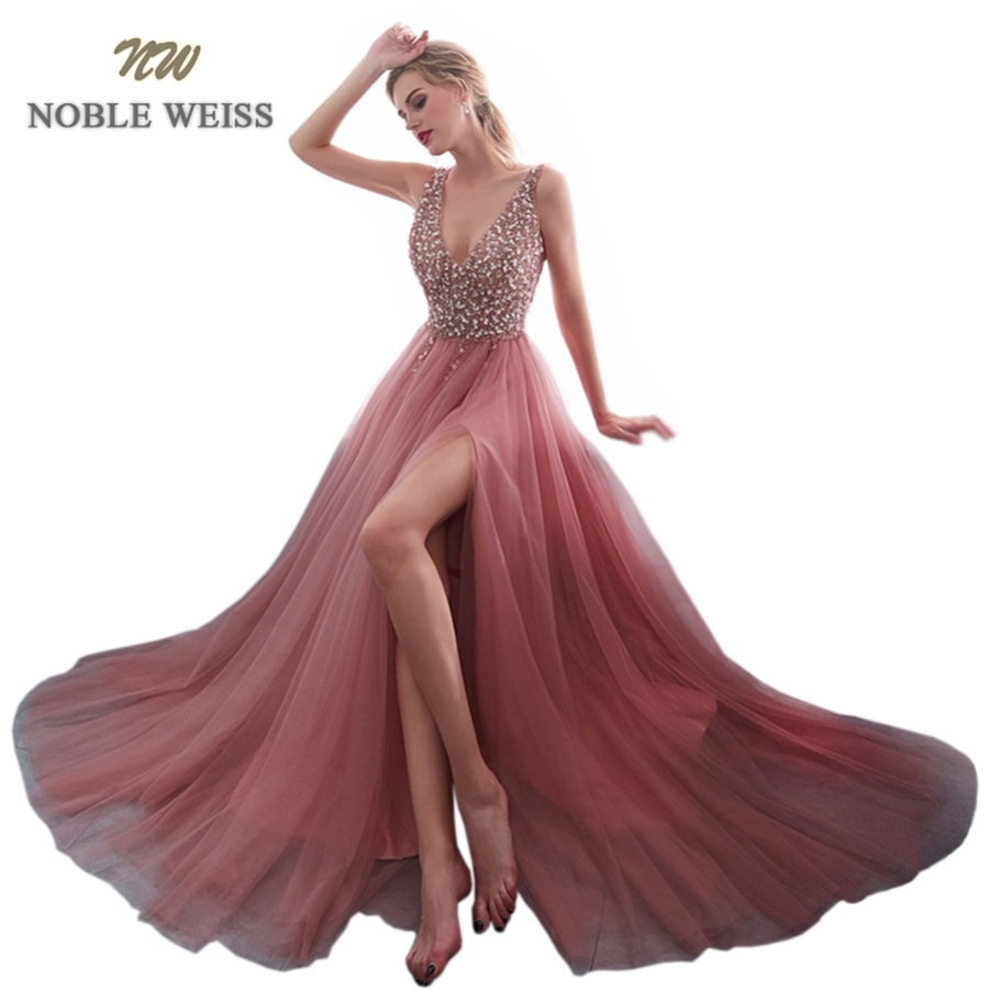 NOBLE WEISS V-neck Evening Gown 2019 Sexy Crystal Beading Split Tulle Prom Dress Floor Length Evening Dress vestido longo festa(China)