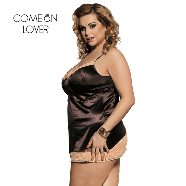 Comeonlover Intimo Donna Sexy Hot Gold Lace Brown Satin Chemise Underwear Plus Size Costume Sleepwear Babydoll Lingerie RI80352 2