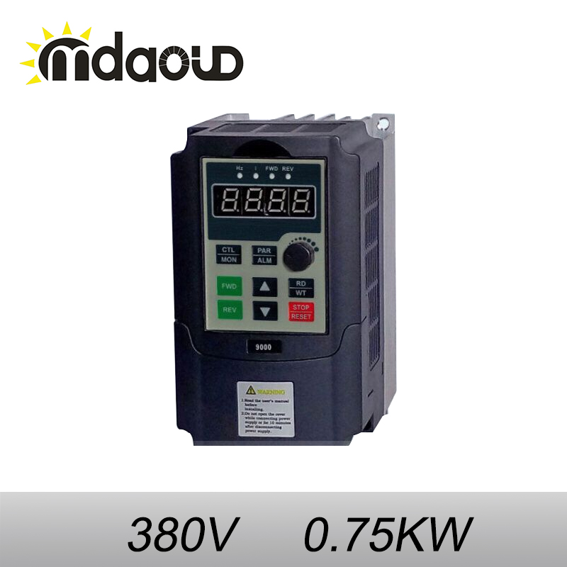 380V 0.75KW VFD Variable Frequency Driver Inverter 3HP  for CNC spindle motor speed control 7 5kw 220v 10hp top quality frequency inverter for spindle motor speed control