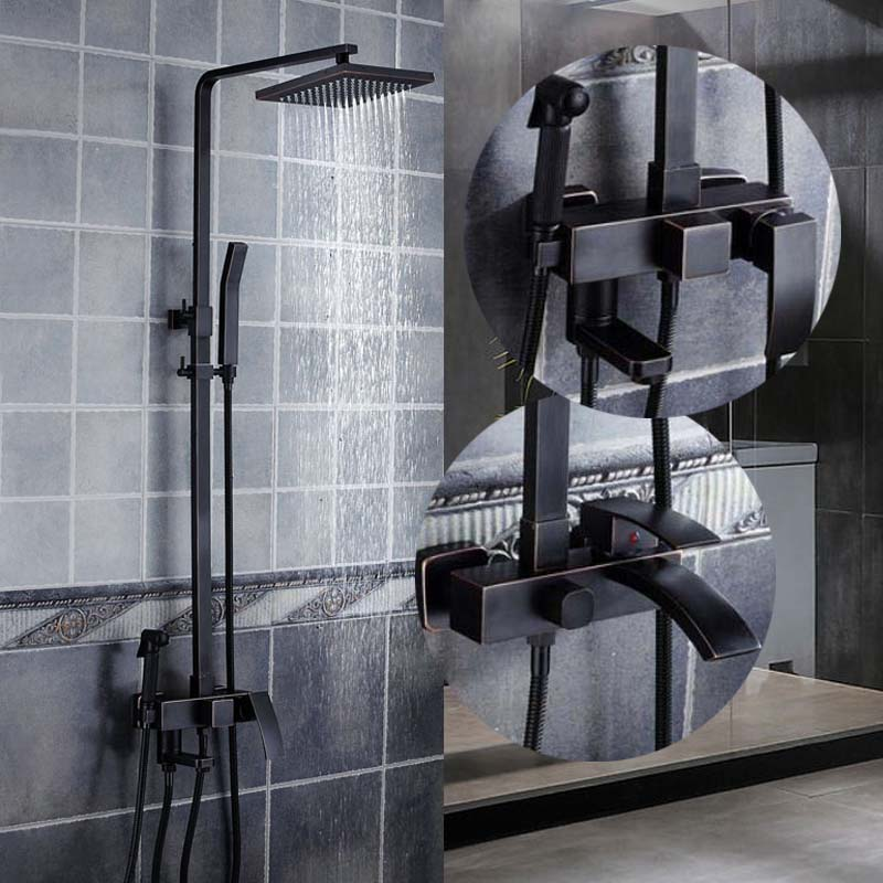 Us 110 0 40 Off Oil Rubbed Bronze Rainfall Shower Head Faucets Set Hand Tub Spout Mixer Tap Br Waterfall 4 Ways Showers In
