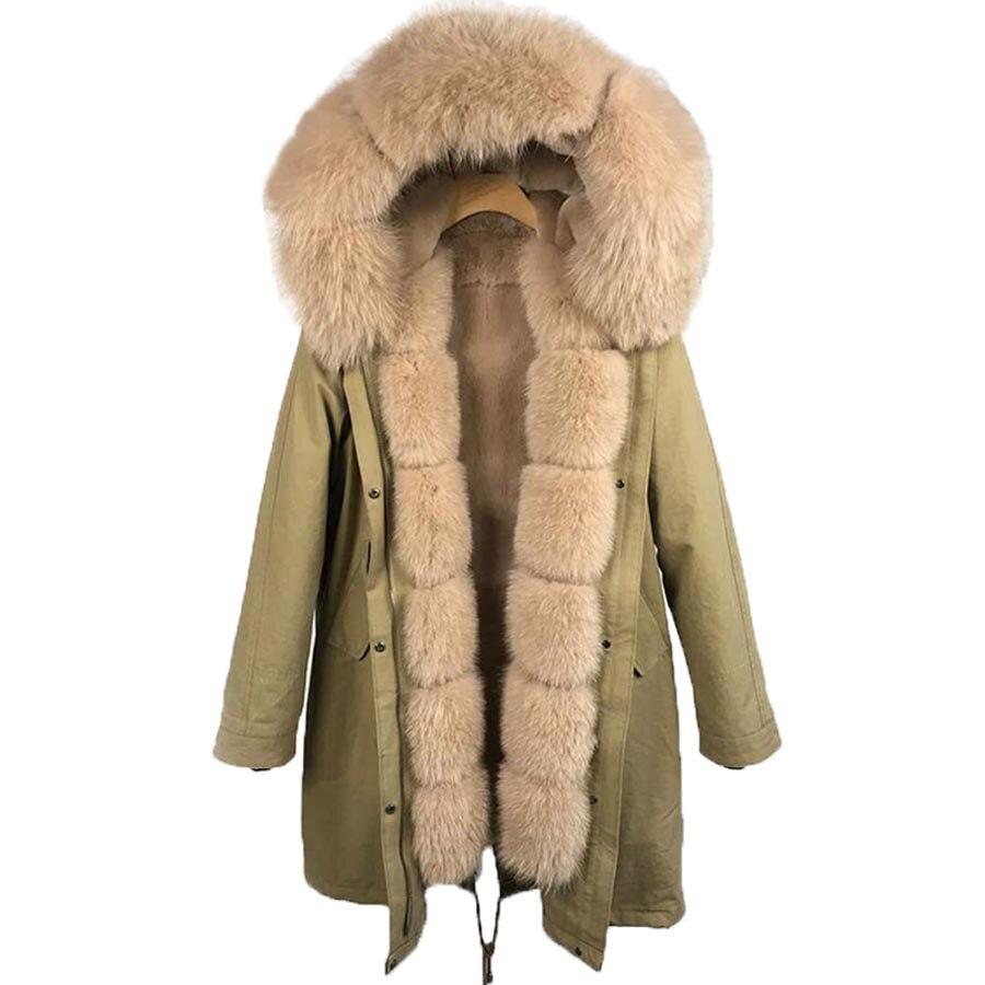 Luxueux manteau de fourrure véritable nouvelle mode femme véritable lapin doublure de fourrure Parka grand chaud fourrure de renard manteau à capuche Outwear veste d'hiver