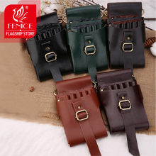FeniceHigh Quality Buckle Retro Leather Case Hairdressing Barber Salon Holster Pouch Styling Tools Bag for 9 pcs Hair Scissors high quality pu leather barber hair scissors pet scissors bag salon hairdressing holster pouch case hair styling tools