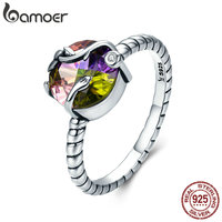 BAMOER 100 925 Sterling Silver Natural Magic Colorful Crystal Stone Femme Finger Ring For Women Sterling
