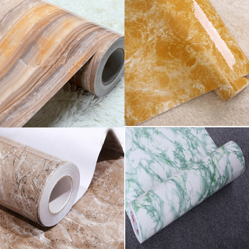 Us 12 19 25 Off Yazi Cheap Thick Waterproof Pvc Imitation Marble Pattern Wallpaper Stickers Self Adhesive Wallpaper For Furniture Renovation In
