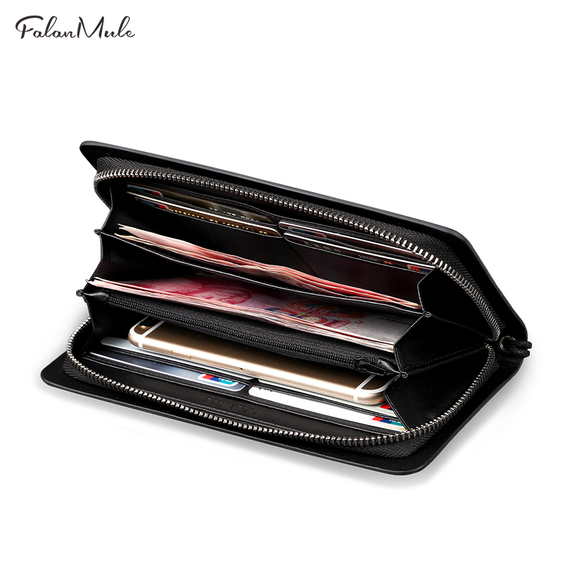 FALAN MULE Business Men Wallets Long Zipper Male Wallet Split Leather Wallet Men Purses Wallet Male