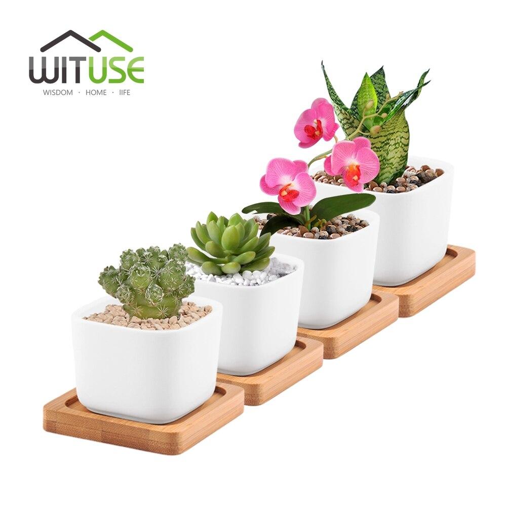 WITUSE 4 Unids Cuadrado Blanco Maceta de Cerámica Esmaltada para - Productos de jardín