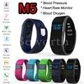 10 unids smartband heart rate monitor de oxígeno en la sangre la presión arterial m5 bluetooth elegante venda de la pulsera wristband del reloj para iphone htc