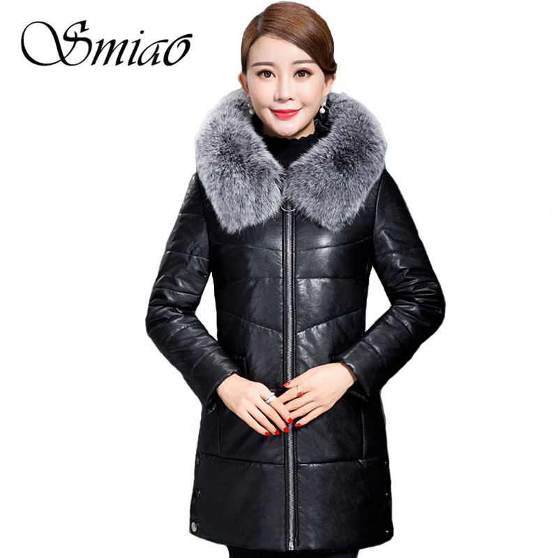 Smiao 2017 Women's Winter Coat Fur Collar Plus Size Long Women Winter PU Leather Jacket Hoodie Warm Female Parkas Overcoat 5XL