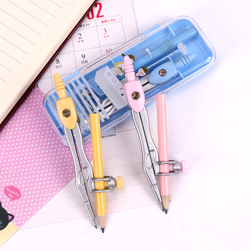 1 Set Stainless Steel Drawing Compass Math Geometry Circles Tools School Supplies For Student Stationery (Included Box Pencil)