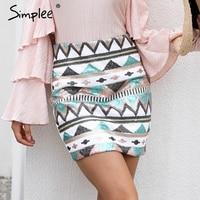 Simplee Aztec print cekiny spódnica ołówek Wysokiej talii streetwear zipper krótka spódniczka 2017 Nowa jesienna mini spódniczki kobiet dół