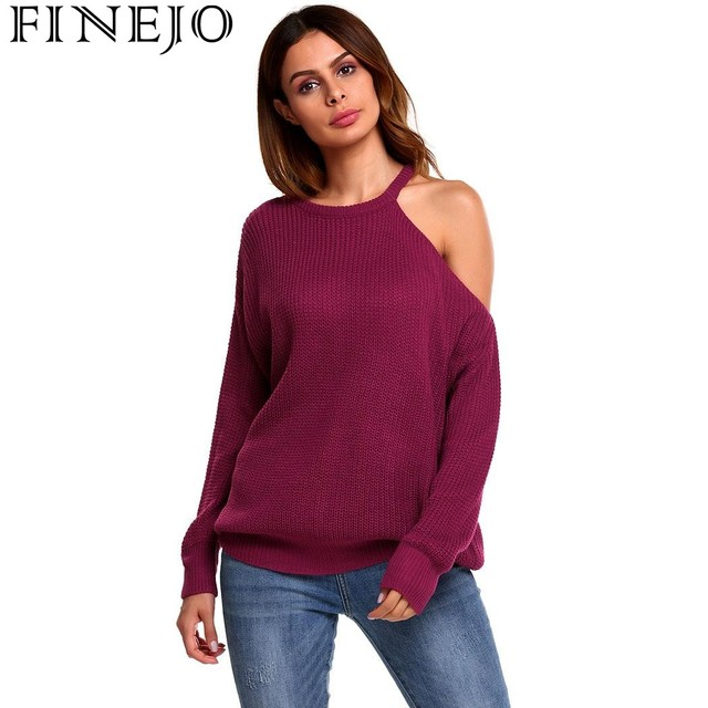 338ecef757864 FINEJO Sexy Strapless Off Shoulder Women Sweaters Autumn Casual Long Sleeve  One Shoulder Solid Slouchy Loose Pullover Sweaters