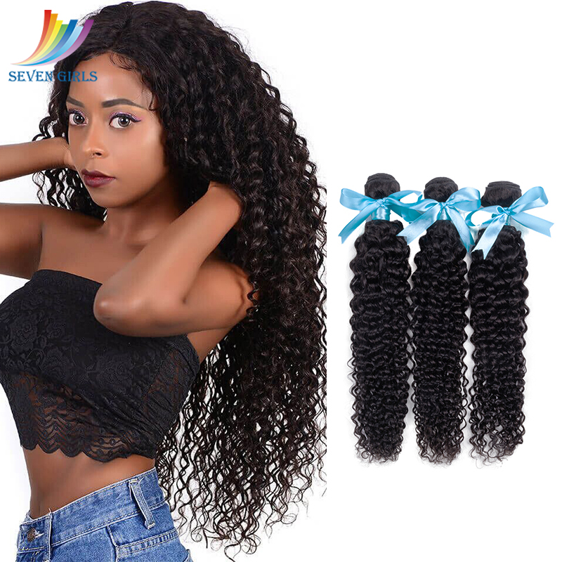Sevengirls Deep Curly Natural Color Human <font><b>Hair</b></font> Weave Bundles Peruvian Raw Virgin Human <font><b>Hair</b></font> <font><b>Grade</b></font> <font><b>10A</b></font> 3 Bundles Free Shipping image