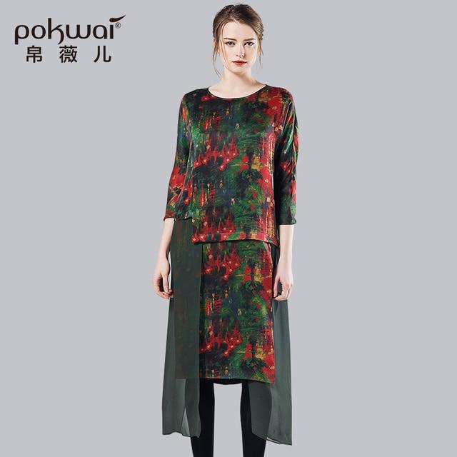Pokwai Long Dress POKWAI Long Vintage Autumn Silk Dress Women Fashion 2017 New Arrival High  Quality Sashes O-