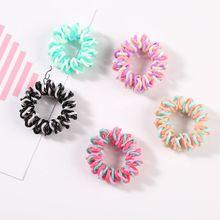 1 коробка, Женская спиральная завивка волос, галстуки, контрастные, яркие цвета, телефонная проволока, хвостик, держатель, пластик, без складок, веревка для волос, 7 цветов