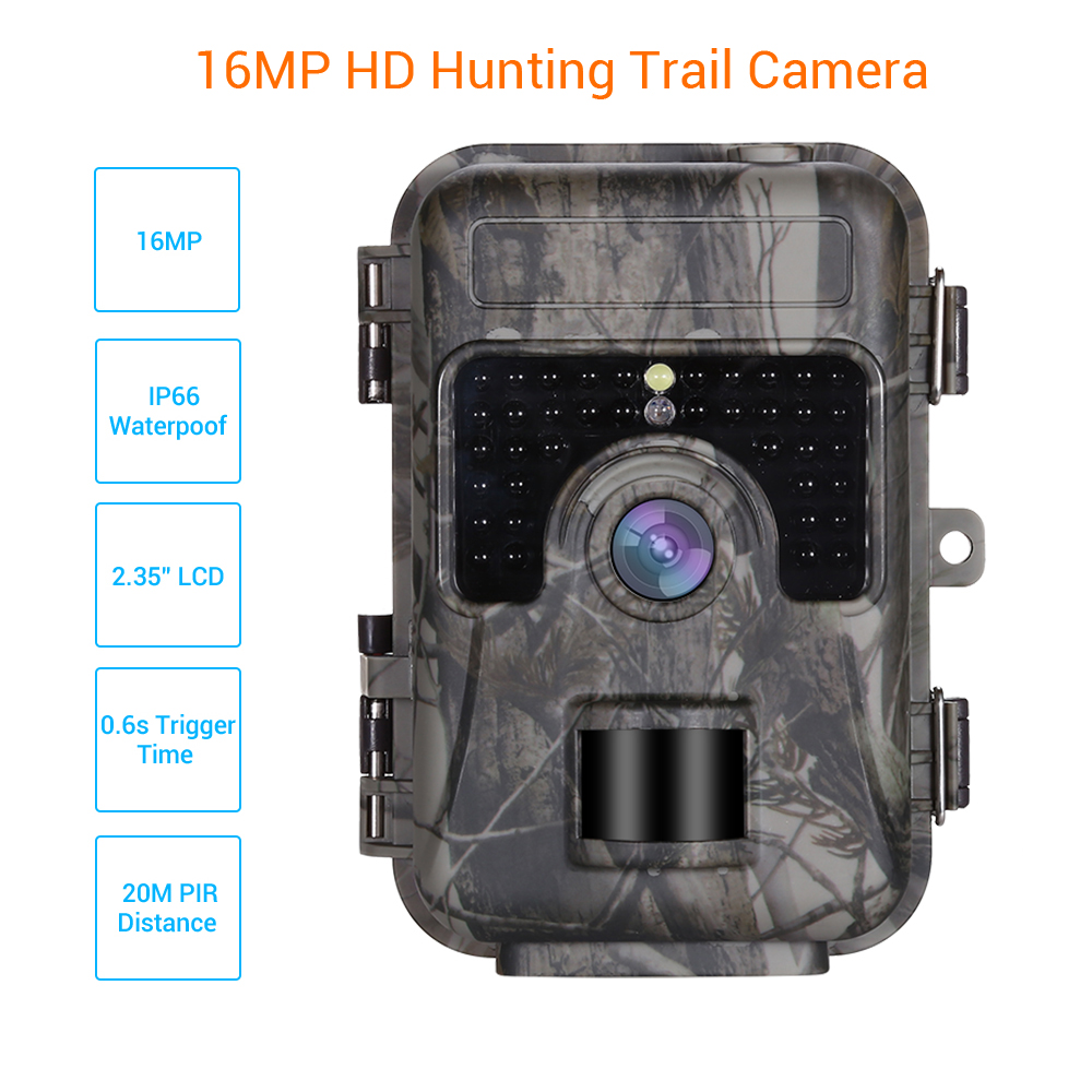 H662 Trail Camera 16MP 1080P Hunting Scouting Wildlife Cam 30pcs IR LED 940nm Night Vision 0.6S Trigger Waterproof Photo Traps-in Hunting Cameras from Sports & Entertainment