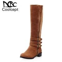 Coolcept Women Knee Boots Metal Buckle Winter Woman Shoes Zipper Fashion Long Boots Fur Warm Office Ladies Shoes Size 33 43