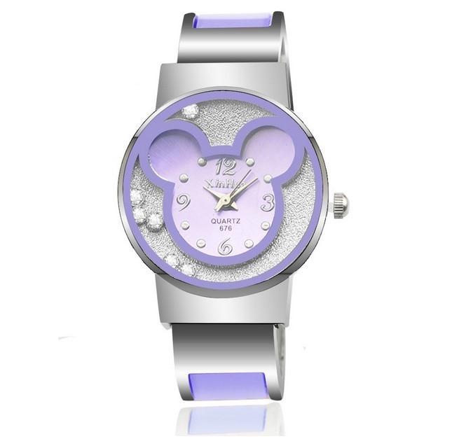 Fashion Brand Mickey Women Steel Bracelet Watch Children Kids Cartoon Quartz Casual Clock Wrist watches relogio