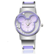 Marque de mode Mickey Femmes En Acier Bracelet Montre Enfants Enfants de Bande Dessinée Quartz Horloge Casual montres relogio crianca mulheres