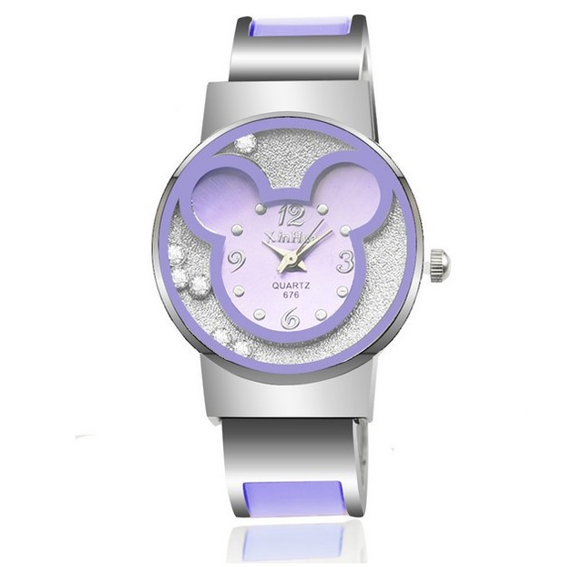 Fashion Brand Mickey Women Steel Bracelet Watch Children Kids Cartoon Quartz Cas