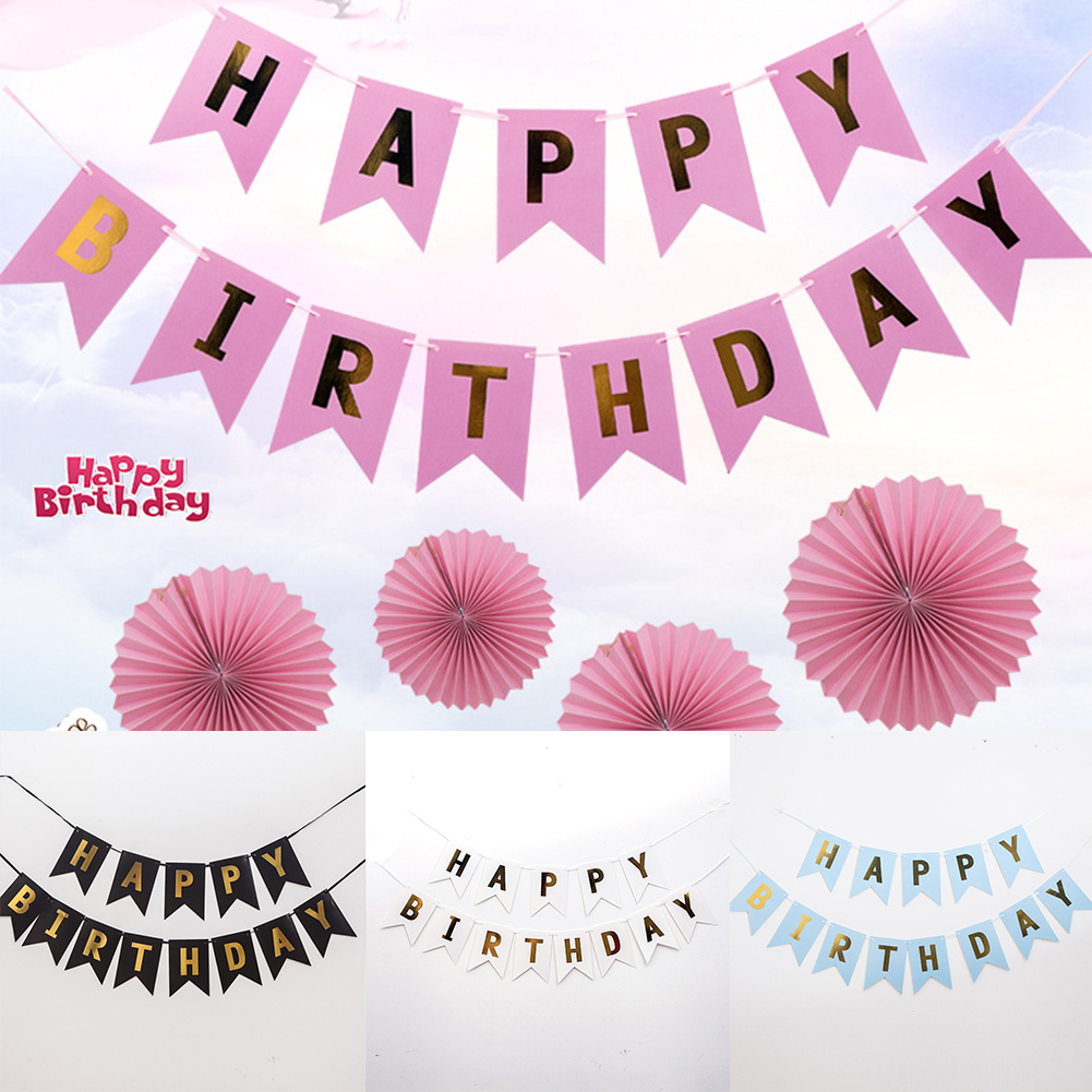 Glitter Paper Birthday Party Hanging Bunting Banner Flag: DIY Glitter Happy Birthday Bunting Banner Gold Letters