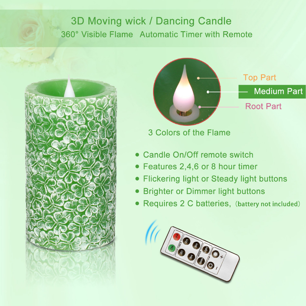 Led Flameless Candle Lights ,Clover Alfalfa Green Clover Green Glass Shaped,with Remote Control Function,2,4,6,8Hours Timer,Batt