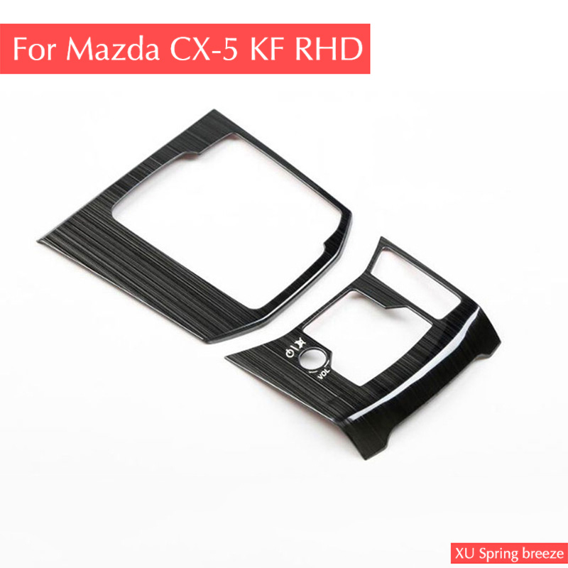 For Mazda CX-5 CX5 2017 2018 KF RHD Car Gear Box Panel Trim Frame Cover Sticker Strips Garnish Decoration Car Styling for mazda cx 5 cx5 2017 2018 kf car rear door trunk box trim sticker chrome garnish strips protective decoration car styling