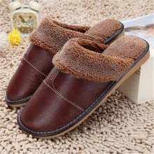 Waterproof Winter Warm Home Slippers Men Women Couple Genuine Cow Leather Pantufas Wool Plush Man Mujer Floor Slipper Shoe
