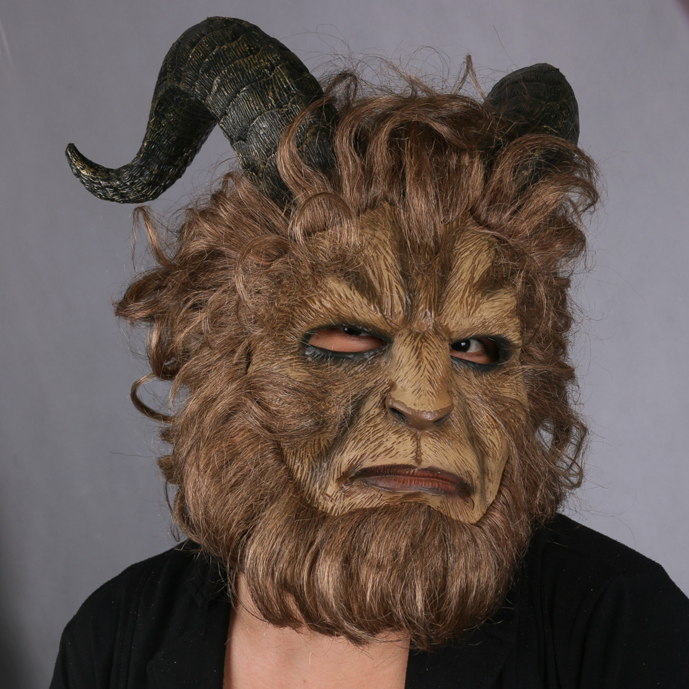 2017 Hot Movie Beauty and the Beast Adam Prince Mask Cosplay Horror Mask Latex Lion Helmet Halloween Party in Boys Costume Accessories from Novelty Special Use