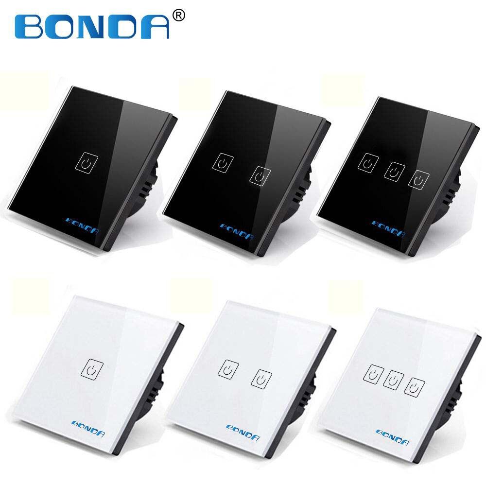 BONDA Touch Switch EU/UK standard White Crystal Glass Panel Switch, AC220V,1 Gang 1 Way, EU Light Wall Screen