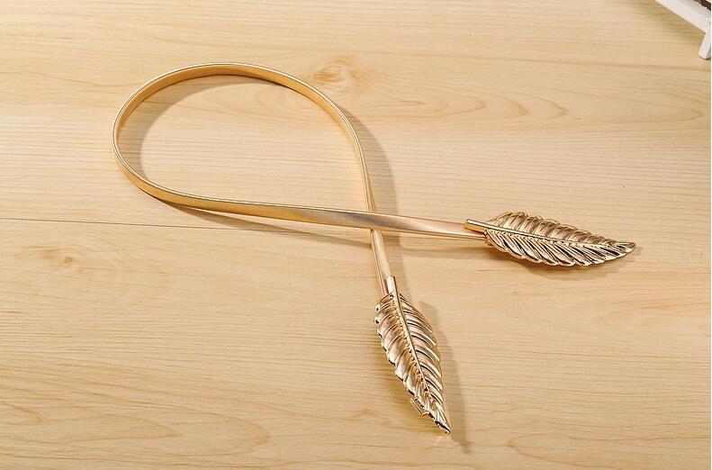 gold silvery leaf shape Wedding designer Elastic belts Stretch Skinny Waist Belt Cummerbunds metal Bridal Belt ZA023 5