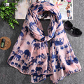 New 2016 hot sale big small elephant print voile woman scarf long square lady shawls women sun protection shawl wrap scarves
