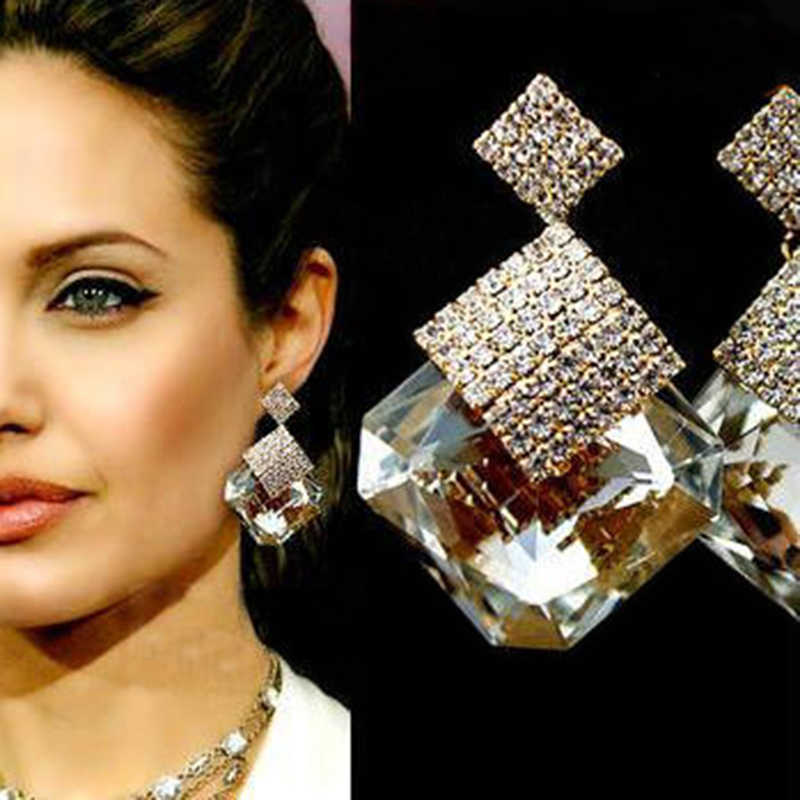 Large Crystal Square Stone Rhinestone Drop Earrings For Women Gold Filled Big Dangle Earring Boucle D'oreille Femme