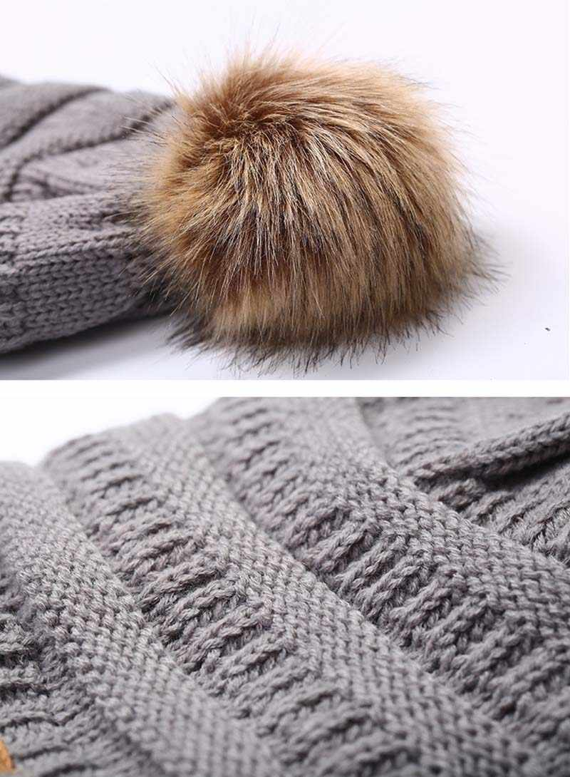 92c98221b26d1 ... New Woman Winter Hat Beanie Faux Fur Pom Pom Ball For Hats Knitted Cap  Skully Warm ...