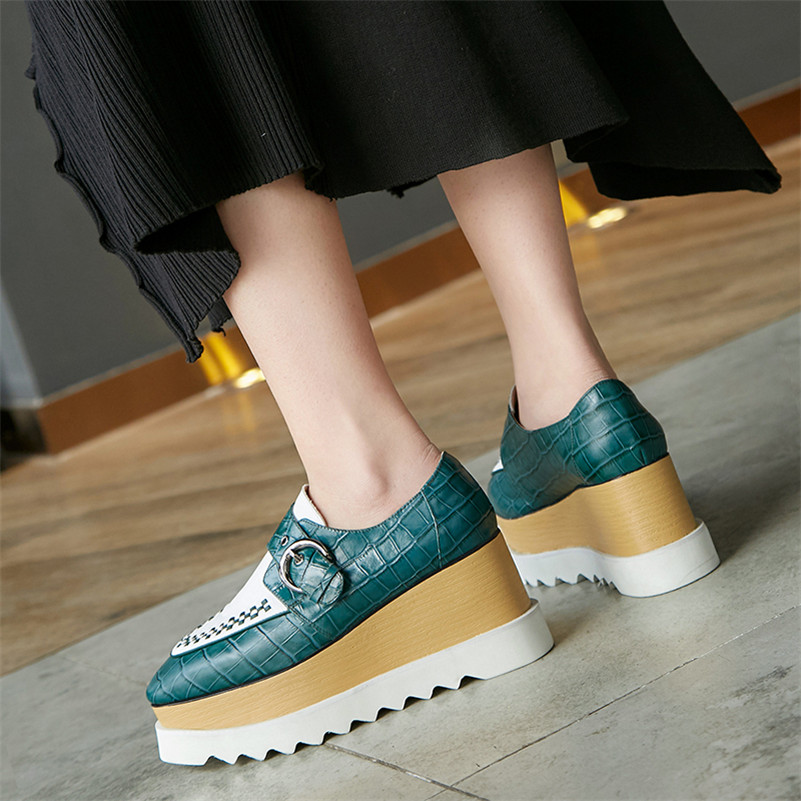 Patchwork Zeppe Tacchi Nero 2 Fedonas 1 Genuine New in Stile pelle Scarpe Pumps Loops Donna 2019 Donna Roma Moda casual YqYXpP