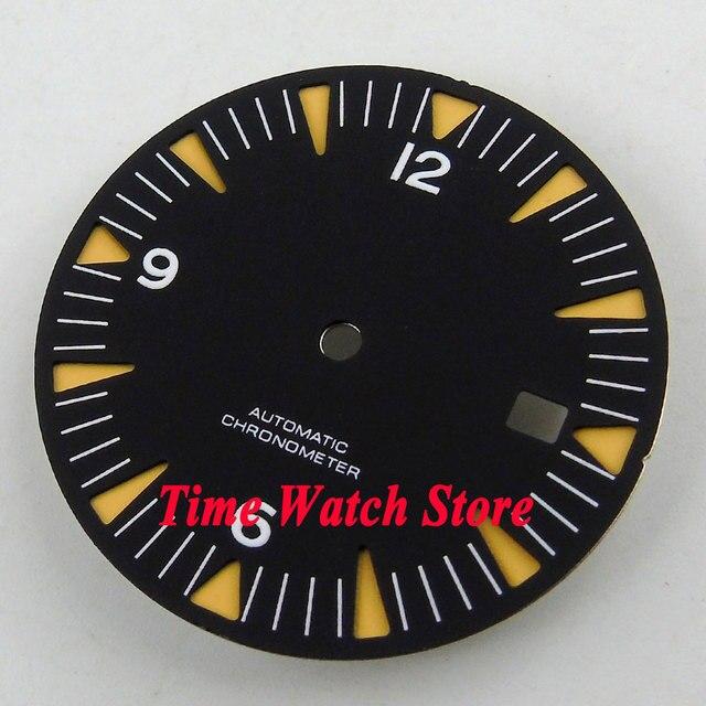 31mm  watch black sterial dial super luminous Fit ETA 2824 2836 Miyota 8215 Movement men with luminous hands D93