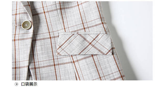 PEONFLY Elegant Autumn Turn Down Collar Slim Plaid Blazer Jacket Half Sleeve Office Lady Woman Suits Slim Casual Buckles Coat 6